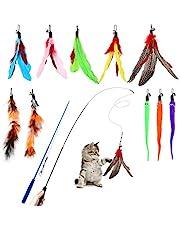 Hianjoo Kattfjäder teaser set 12 st, interaktiva leksaker för katter 2 infällbar kattstav roliga pinnar och 10 ersättningsfjäderleksaker med klocka för kattunge kattfångare ha kul träning leker