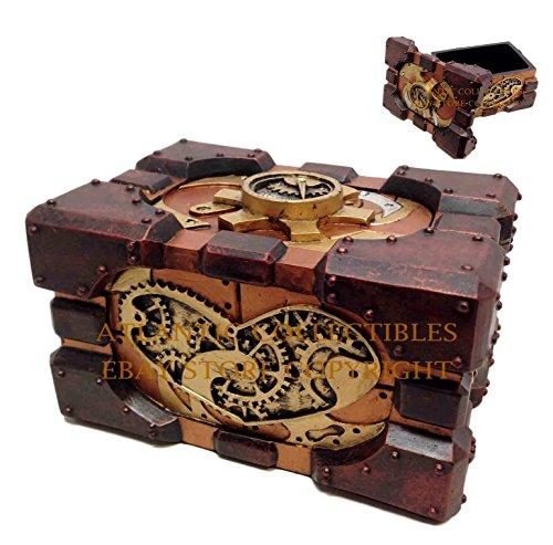 Steampunk Pressure Gauge Box Heart Gearwork Jewelry Trinket Keepsake -