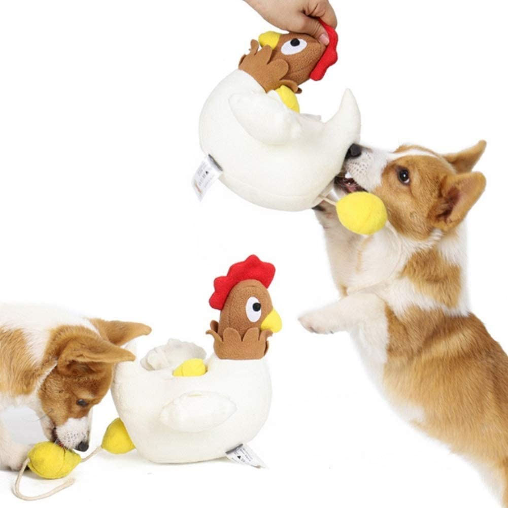 CheeseandU 1Pc Hide Hen Egg Squeaky Puzzle Plush Dog Chew Toy - Hide and Seek Activity for Dogs Leakage Food Toy for Dog Easter Gift Chick Squeak Toy for Dogs