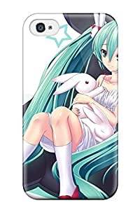 Hot CjMsGhd13350fHFZT Case Cover Protector For Iphone 4/4s- Animal Bunny Dress Hatsune Miku Mizutsuki Rei Rabbit Vocaloid