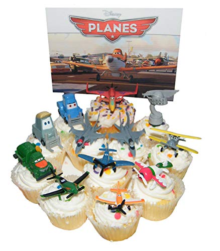 Disney Planes Movie Figure Deluxe Cake Toppers / Cupcake Party Favor Decorations Set of 12 with Dusty, Rally Trophy, Racers, Jet Fighters and More! -