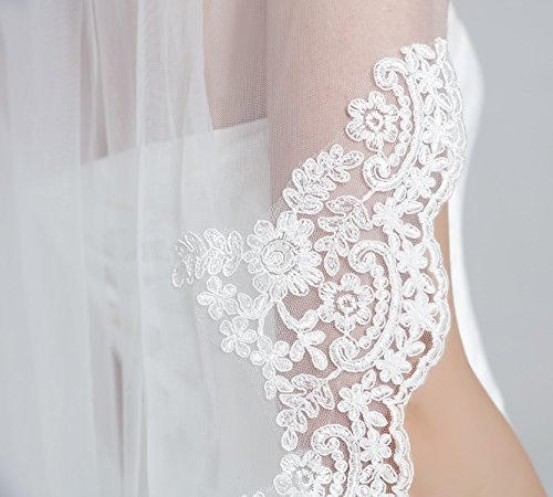 Wedding Bridal Veil with Comb 1 Tier Lace Applique Edge Ivory Fingertip Length Veil-68-Ivory