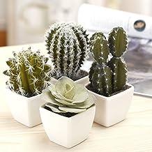 5 Inch Mini Assorted Artificial Cactus Plants, Faux Cacti Assortment, Set of 4