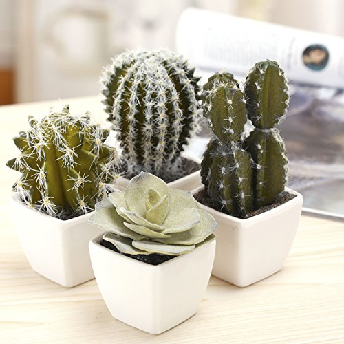 MyGift 5 Inch Mini Assorted Artificial Cactus Plants, Faux Cacti Assortment, Set of 4