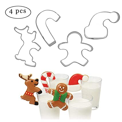Cookie Cutter Christmas.4pcs Hanging Cup Cookie Cutter Christmas Mug Decor Kitchen Accessories Chocolate Baking Tools Gingerbread Man Christmas Candy Elk Santa Claus
