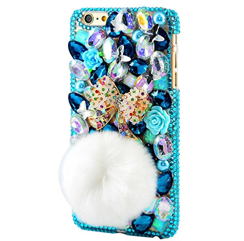 STENES iPod Touch (5th Generation) Case, Luxurious Crystal 3D Handmade Sparkle Diamond Rhinestone Clear Cover With Retro Bowknot Anti Dust Plug - Polka Dot Bowknot Rabbit Villus Tail/Blue ()