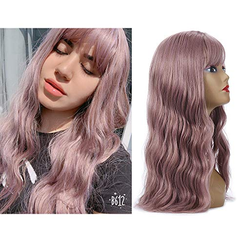 Synthetic Wigs For Black Women H&N Hair Long Wave Curly Colorful Wigs With Bangs Heat Resistant For Daily Use Cosplay Halloween Party Wigs With Free Wigs 18 Inch (Taro Purple) ()