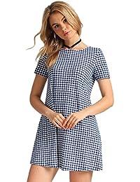 Women's Pull Over Tunic Dress Short Sleeve Plaid Long Loose Fit T Shirt Dresses