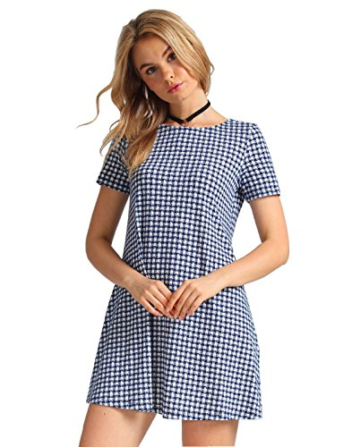 OEUVRE Women's Pull Over Plaid Tunic Cotton Loose Fit T Shirt Dresses Blue 08