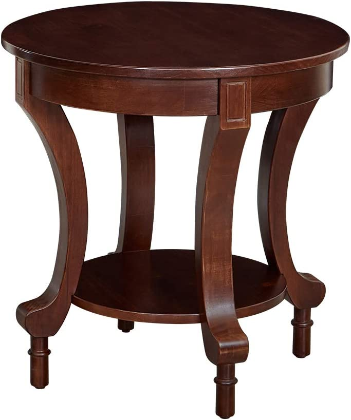 """Ravenna Home Traditional Solid Pine End Table, 24""""W, Espresso Finish"""