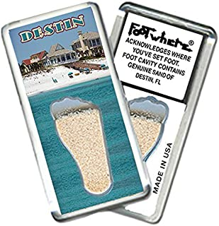 "product image for Destin, FL""FootWhere"" Fridge Magnets (DS205-Beach Pads). Authentic destination souvenir acknowledging where you've set foot. Genuine soil of featured location encased inside foot cavity. Made in USA"