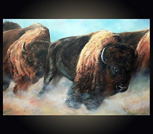 Buffalo running or stampeding