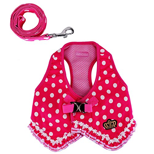 wowowo Small Dog Leash and Harness Set Stylish Lace Polka Dot Pink Puppy Cats Vest Harness
