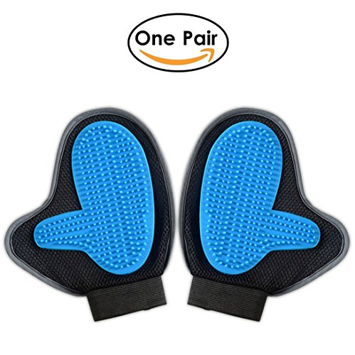 Bonve Pet Dog Grooming Glove – Efficient Pet Deshedding Brush Glove Best Hair Remover for Long Short Hair Dogs Cats blue