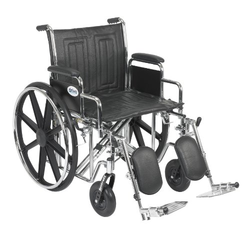 Drive Medical 20 Inch Desk - Drive Medical Sentra EC Heavy Duty Wheelchair with Various Arm Styles and Front Rigging Options, Black, Bariatric, 20 Inch