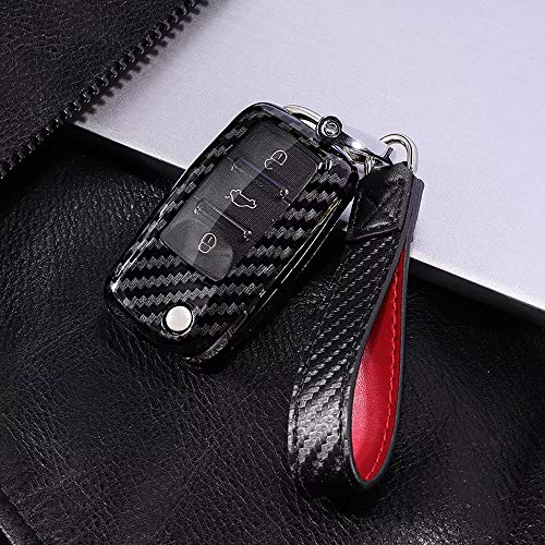 (Royalfox(TM) 2 3 Buttons Carbon Fiber Texture flip Remote Key Fob case Cover for VW Volkswagen Jetta GTI Passat Golf Bora Polo Tiguan Touareg Beetle Multivan Sagitar Passat,Skoda (for vw Old Key))