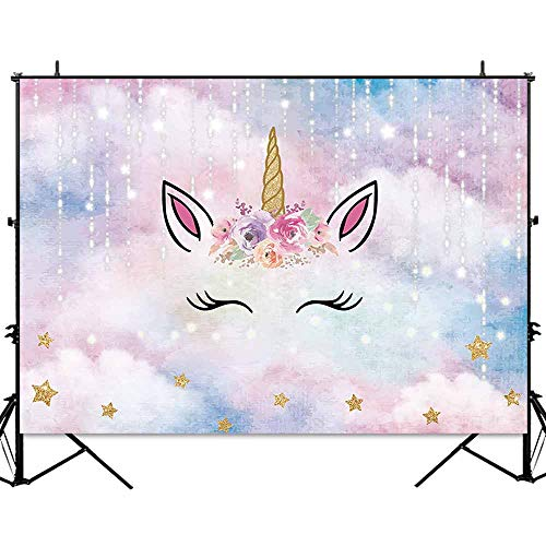 Allenjoy 7x5ft Unicorn Backdrop for Girls Photography Kids Birthday Party Banner Golden Star Pink Watercolor Sky Baby Shower Background Photo Studio Booth Props