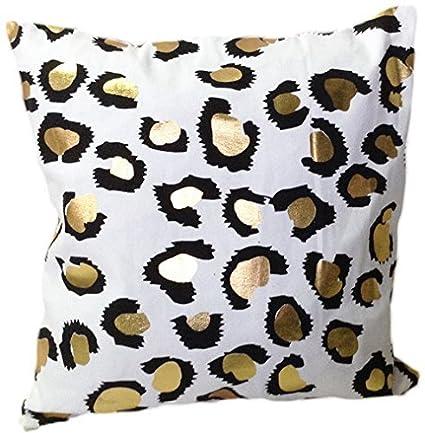 Amazon HOMETALEÂ Leopard Print Gold Foil Print Decorative Throw Adorable Leopard Print Pillows Decorative