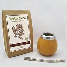 Argentina Yerba Mate Tea Gourd Cup Artisan + Straw Bombilla + 6 Oz Leaf Bag Kit
