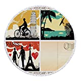 Thick Round Beach Towel Blanket,Retro,Postcards from Italy Hawaii Paris Exotic Places in the World Nostalgic Times Print Decorative,Multicolor,Multi-Purpose Beach Throw