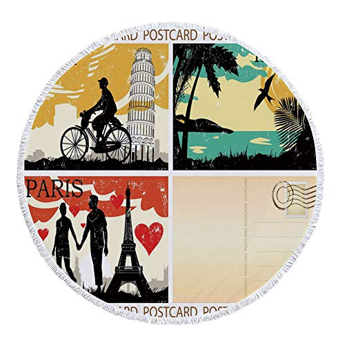 Thick Round Beach Towel Blanket,Retro,Postcards from Italy Hawaii Paris Exotic Places in the World Nostalgic Times Print Decorative,Multicolor,Multi-Purpose Beach Throw by iPrint