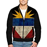 988Iron Flag Of Antigua And Barbuda Men's Polyester Stand Collar Front Zip Jacket