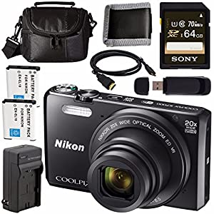 Nikon COOLPIX S7000 Digital Camera 26483 + EN-EL19 Lithium Ion Battery + External Rapid Charger + Sony 64GB SDXC Card + Carrying Case + Micro HDMI Cable + Card Reader + Memory Card Wallet Bundle