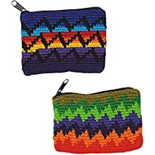 2 Pack - Guatemalan Hand Crocheted Rectangular Coin Purses Random One of a Kind Patterns with Zipper
