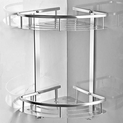 TIANG Bathroom Shelf, Aluminum Shower Corner Wall Mounted Shelf Basket, 12 Inch Triangle Space Saver Shelf Holder with 2 Hooks for Bathroom, Toilet, Hotel, kitchen —2 Tiers