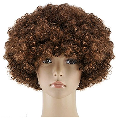 Afro Wig Adult Unisex Short Curly Afro Cosplay Afro Wig For Party Brown Afro Wig 70's (Adult Short Unisex)