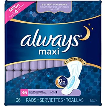 Always Maxi Extra Heavy Overnight Pads - 36 Count