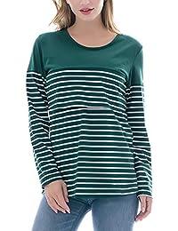 Smallshow Women's Maternity Nursing Tops Long Sleeve Striped Breastfeeding T-Shirt