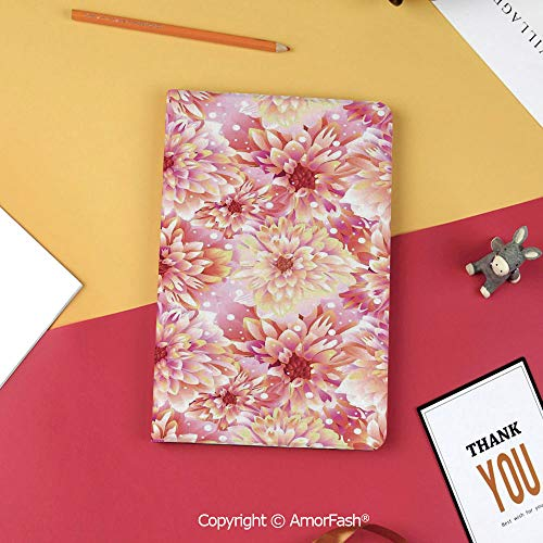 Case for Samsung Galaxy Tab S3 9.7 T820 T825 Slim Folding Stand Cover PU Case,Dahlia Flower Decor,Double Bloom with Overlap Axis and Twist Bluntly Circle Pompons,Pink Yellow