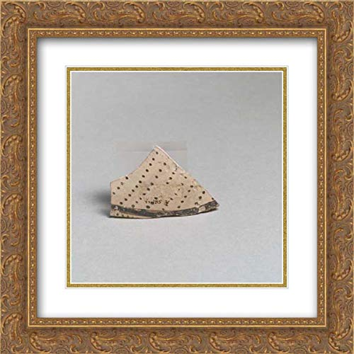 Minoan Culture - 20x20 Gold Ornate Frame and Double Matted Museum Art Print - Terracotta Vessel Fragment with Rows of dots and Band