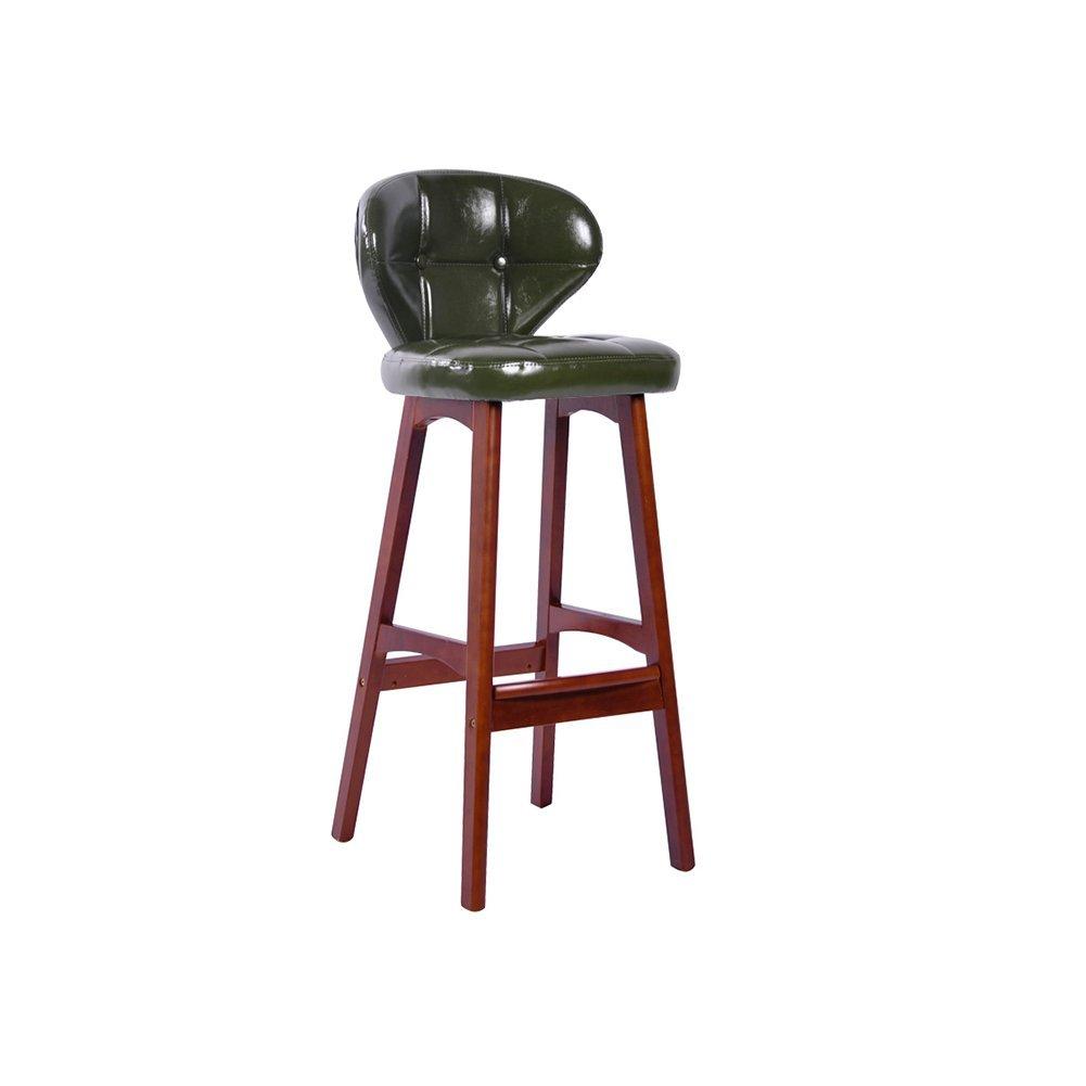 DALL カウンターチェア FL-51 PU材料 バースツール 朝食バー スツール 高い足 スツール 快適なチェアバック 組み立てることができます 高さ100cm (色 : 緑) B07DL18Q9W 緑 緑