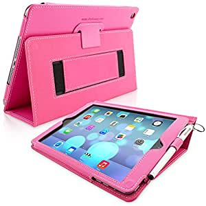 iPad Air (iPad 5) Case, Snugg™ - Smart Cover with Flip Stand & Lifetime Guarantee (Hot Pink Leather) for Apple iPad Air (2013)