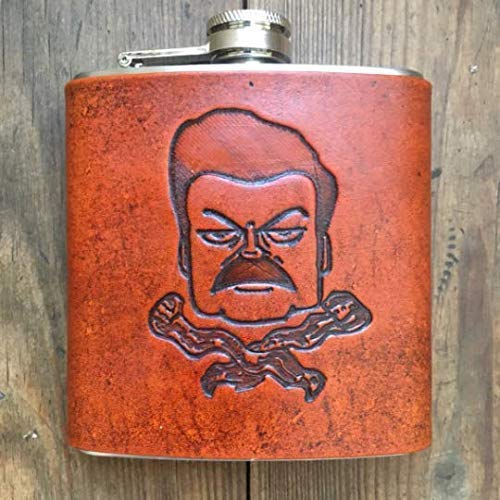 Ron Swanson Bacon flask, parks and rec, parks and recreation, Gift for him, Mens Flask, Groomsmen gift, groom gift