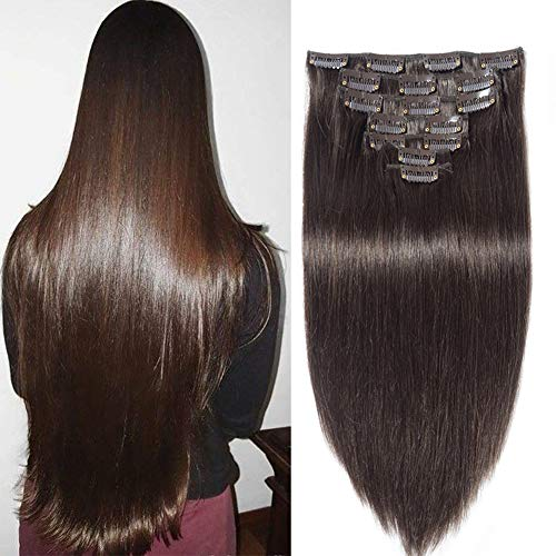 Jisheng Straight Clip In Brazilian Virgin Human Hair Extensions Double Weft 7 Pieces 160g with 16 Clips Dark Brown Color 26inch (Best Virgin Human Hair Extensions)