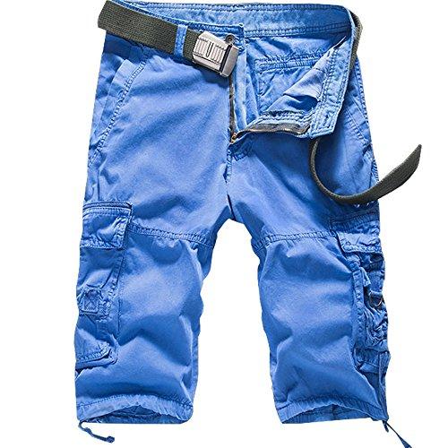 Cottory Men's Cotton Loose Fit Multi Pocket Cargo Shorts Sky Blue 38