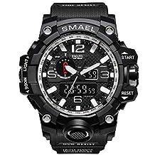 SMAEL Gold Bial Watches Top Brand Luxury Dual Display Mens Quartz Wristwatch Men Resistant Sports Digital Watch Relogio