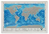 """Framed Discovery Map World - Framed World Map with Scratch off & Detailed Travel Content. Wooden Stylish White Frame. Large Size 26""""x36.2"""". Blue Map with Silver Scratch. ORIGINAL. (Map in White Frame)"""