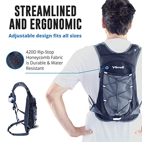 Vibrelli Hydration Pack & 2L Hydration Bladder – High Flow Bite Valve Hydration Backpack with Anti-Microbial Technology
