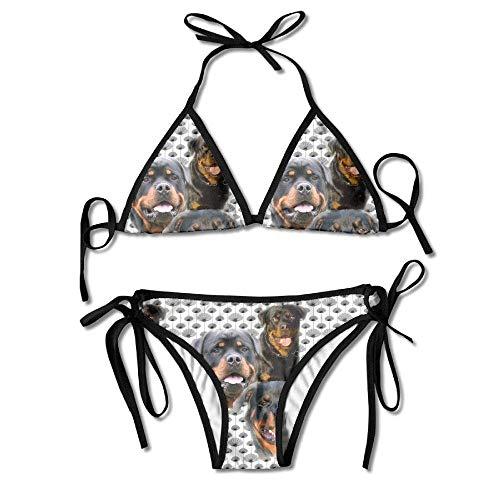 Kasiola Rottweilers Thistles Women's Tie Side Pantie Triangle Bikini Set