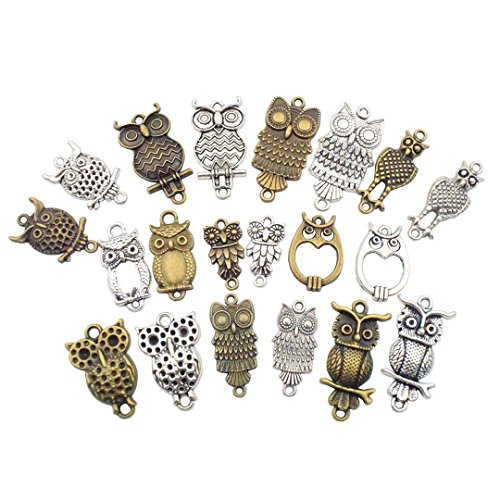 Youdiyla 40 pcs Craft Supplies Antique Silver Antique Bronze Mixed Owl Birds Metal Pendants Charms for Jewellery Making DIY Findings (HM35)