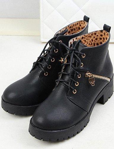 De Eu39 oficina Y Zapatos Xzz Uk6 Cn39 Mujer Trabajo Cuero Sintético Anfibias Black Botas casual us8 Exterior Robusto Tacón Negro vTqgTwP5