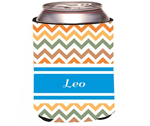 rikki-knight-leo-blue-chevron-name-design-beer-can-soda-drinks-cooler