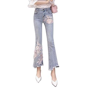 Pantalones Vaqueros Bordados Mujer Retro con Cuentas Cintura ...