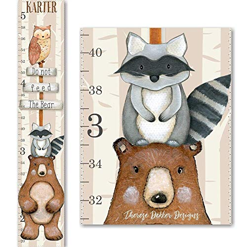 Don't Feed the Bear along with Mr. Raccoon and Mr. Owl Woodland Canvas Boys Growth Chart