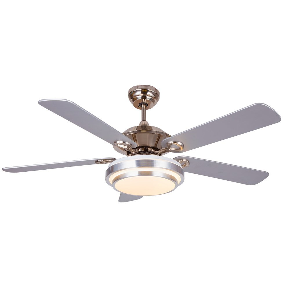 Akronfire Modern Stainless Steel Ceiling Fan with 5 Reversible Blades Remote Control Silent Fans Chandelier for Decorate Living Room/Dining Room/Indoor 52 Inch