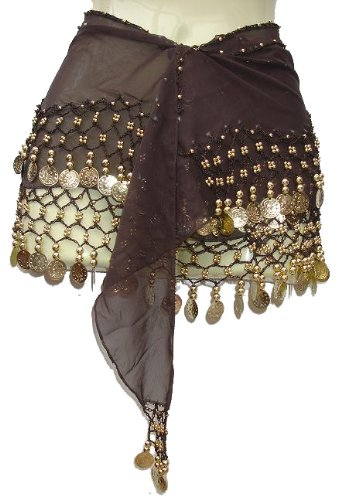 Kuldip Women's Professional Belly Dancing Coin Scarf Wrap Belt. Two Rows of Gold Colour Coins Dark Brown (Silk Beaded Belt)
